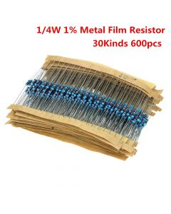 Monday Kids 600pcs/set 30 Kinds 1/4W Resistance 1% Metal Film Resistor Pack Assorted Kit 1K 10K 100K 220ohm 1M Resistors