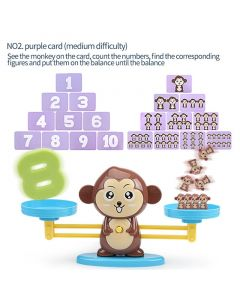Monday Kids Math Match Game Board Toys Monkey/DOG Digital Balance Scale Toy Kids Educational Toy Addition Subtraction Math Toys