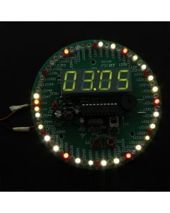 Monday Kids 2Pcs Electronic LED Time Display Kit Rotation LED Clock DIY Kit Remote Control Multi-Function Clock Suit