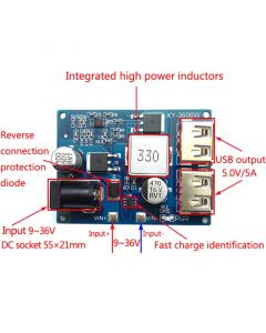 Monday Kids LM2596S DC-DC 24V/12V to 5V Buck Converter Step Down Adjustable Power Supply Module Double USB Interface Voltage Regulator 5A