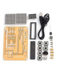 Monday Kids Electronic DIY Kit MCU Computer Game Machine DIY Snake Electronic for Tetris/Snake/Plane/RacingDot Matrix Game Kit Electronica