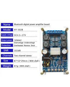 Monday Kids 50Wx2 Bluetooth Digital Amplifier Board Dual Channel Audio HIFI Power Amplifiers Module with a Shell Protection No Pop Sound