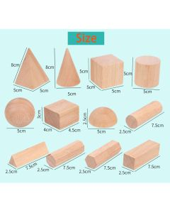 Monday Kids 12 Pcs/Unit Primary School Pupils Math Teaching Aids Graphic Square Body Long Square Stereo Geometric Model